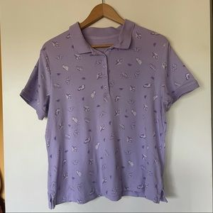 3/$30 purple butterfly collared tee shirt M(10-12)